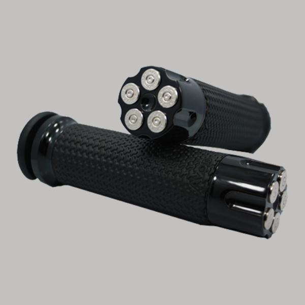 Memory Foam Handgrips Black Cartridge Chrome Bullet