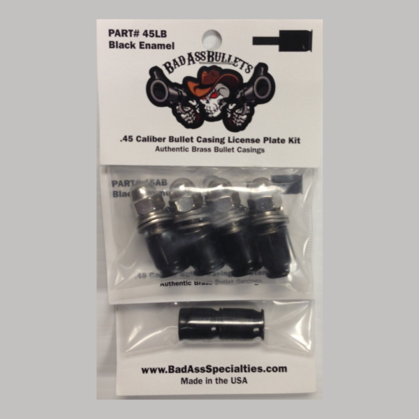 Authentic Bullet Casing Screw Cover Kit for License Plates and Air Stems Black
